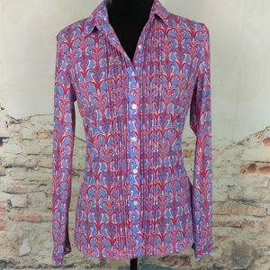 J McLaughlin XS Red Blue Catalina Cloth Blouse